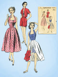 1950s Vintage Advance Sewing Pattern 6394 Misses Halter Top Shorts Skirt Sz 32 B - Vintage4me2