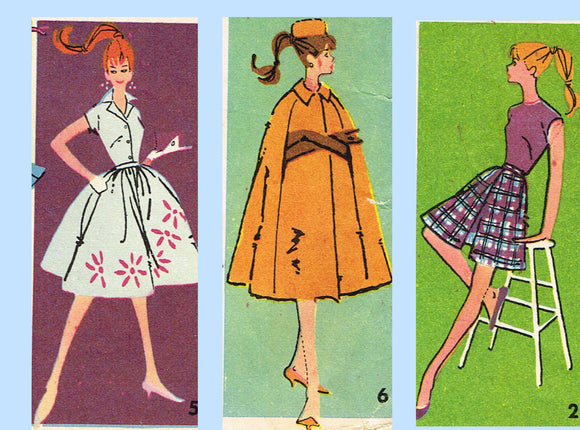 Advance 9939: 1960s Mid Mod Barbie Doll Clothes Set Vintage Sewing Pattern