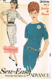 1960s Vintage Advance Sewing Pattern 3015 Uncut Misses 2 Pc Dress Size 14 34B