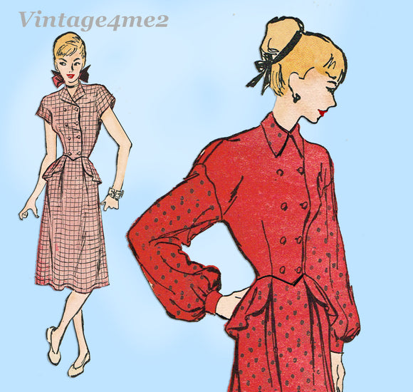 Advance 4530 1940s Misses 2 Piece Peplum Dress Sz 33B Vintage Sewing Pattern
