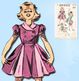 1950s Vintage Advance Sewing Pattern 5715 Cute Little Girls Dress Size 8 - Vintage4me2