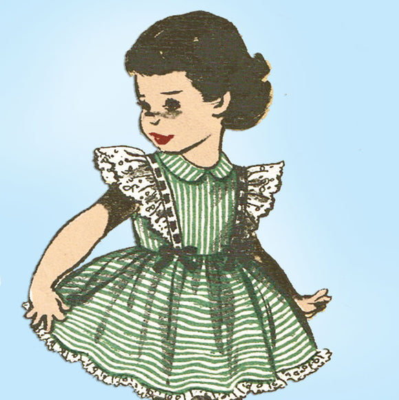 1950s Vintage Advance Sewing Pattern 5732 Toddler Girls Ruffled Dress Size 6 - Vintage4me2