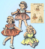 1950s Original Vintage Advance Sewing Pattern 6236 Cute Baby Girls Dress Size 1 - Vintage4me2