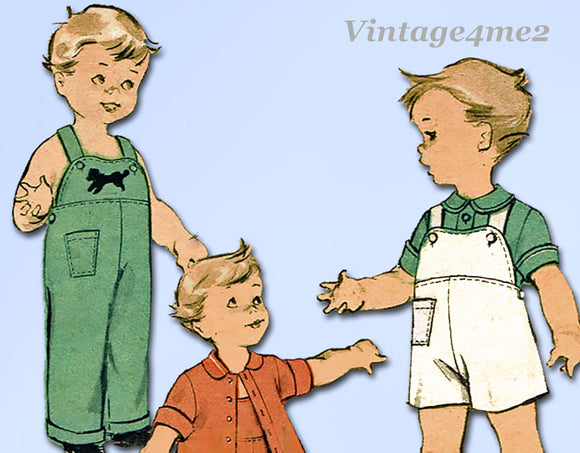1950s Vintage Advance Sewing Pattern 6300 Toddler Boys Overalls & Jacket Sz 1