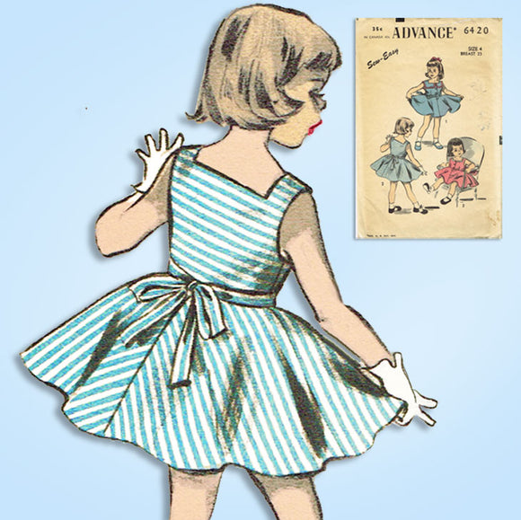1950s Vintage Advance Sewing Pattern 6420 Sew Easy Toddler Girls Sun Dress Sz 4