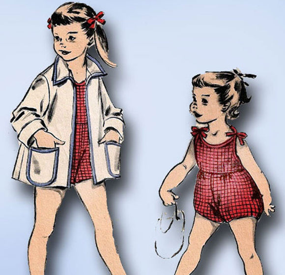 1950s Vintage Advance Sewing Pattern 6424 Toddler Girls Bathing Suit & Coat Sz 4