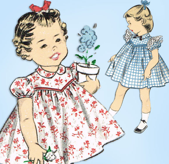 1950s Vintage Advance Sewing Pattern 7133 Toddler Girls High Yoke Dress Size 2 - Vintage4me2