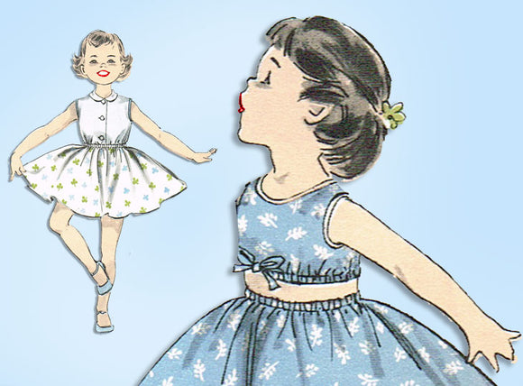 1950s Vintage Advance Sewing Pattern 8328 Easy Baby Girls Play Clothes Size 2 - Vintage4me2