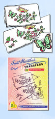 1960s Uncut Aunt Marthas Embroidery Transfer 3245 Butterfly Flower Pillowcases