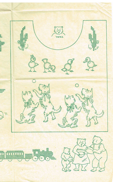 1940s Darlin Betty Burton Embroidery Uncut Transfer Tiny Toddlers Nursery Motifs - Vintage4me2