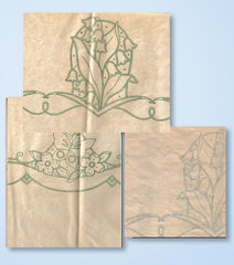 "1930s Betty Burton ""F"" Lily of the Valley Pillowcases Uncut Embroidery Transfer"