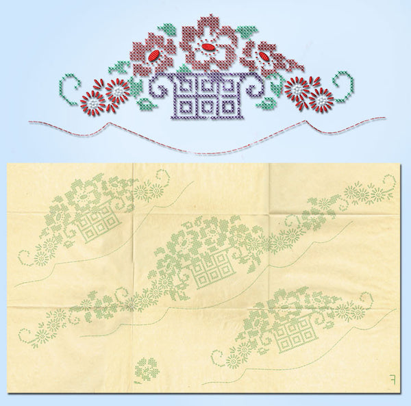 "1920s Burton X Stitch Flower Basket Pillowcases Uncut Embroidery Transfer ""F"" - Vintage4me2"