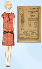 1920s VTG Butterick Sewing Pattern 1399 Uncut Junior Girls Flappper Dress Sz 31B