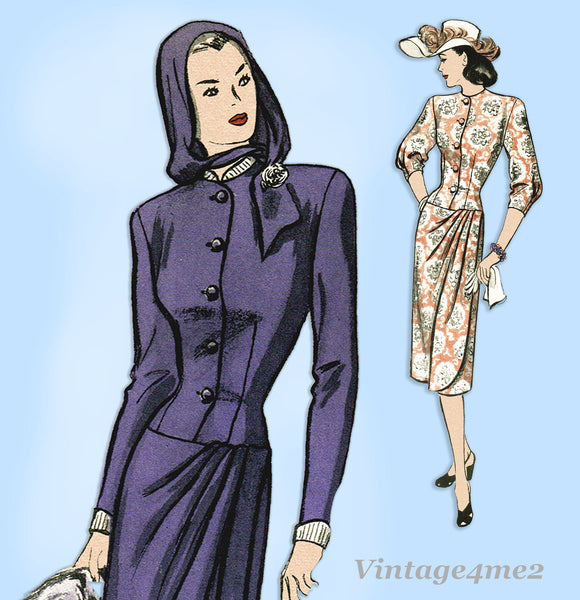 Butterick 4051: 1940s Uncut Misses 2 PC Suit Size 32 Bust Vintage Sewing Pattern