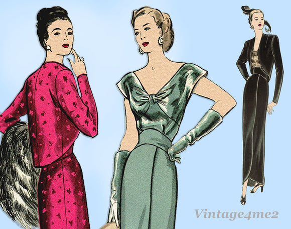 Butterick 4350: 1940s Uncut Misses Evening Gown Size 32 B Vintage Sewing Pattern