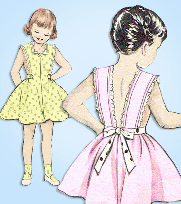 Butterick 6555: 1950s Easy Girls Pinafore Sun Dress Sz 8 Vintage Sewing Pattern - Vintage4me2