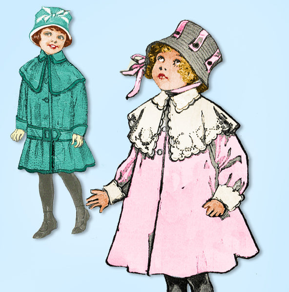 1910s Vintage Butterick Sewing Pattern 8276 Baby Girls Ripple Box Coat Sz 6 mos