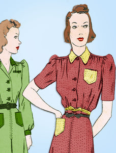 1930s Vintage Butterick Sewing Pattern 8433 Classic Misses Shirtwaist Dress 33 B - Vintage4me2
