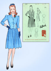 1940s Original Vintage Butterick Pattern 1365 WWII Misses Shirtwaist Dress 33 B