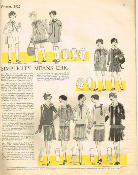 1920s Vintage Girls Flapper Dress Butterick VTG Sewing Pattern 1544 Size 12 - Vintage4me2