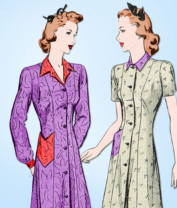 1940s Vintage Butterick Sewing Pattern 2296 Misses House Dress or Smock Sz 34 B - Vintage4me2