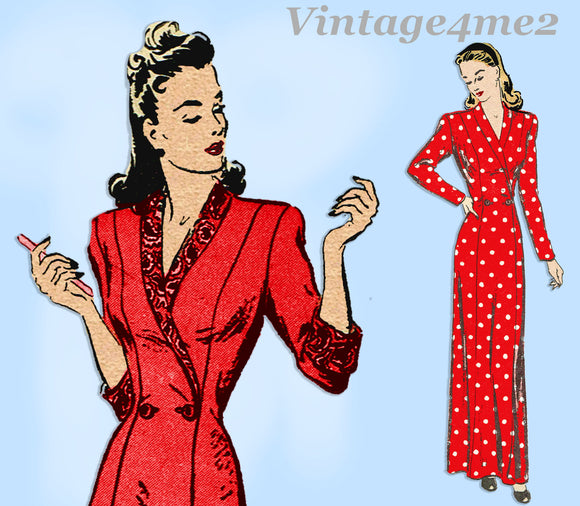 Butterick 2995: 1940s Uncut Misses Housecoat Size 32 B Vintage Sewing Pattern