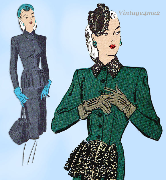 Butterick 3151: 1940s Misses Peplum Tunic Suit Sz 32B Vintage Sewing Pattern