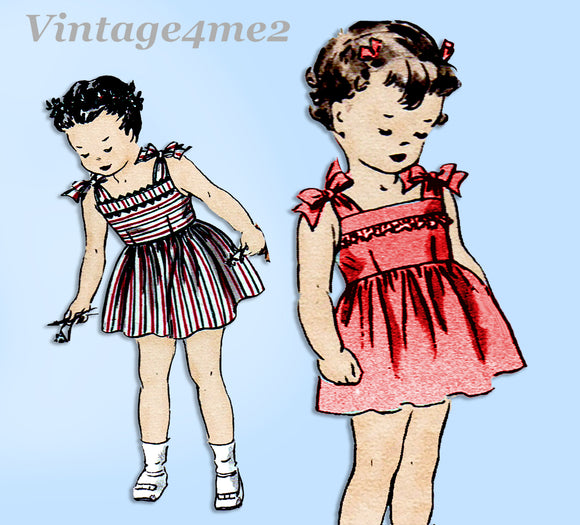 1940s Vintage Butterick Sewing Pattern 3406 Cute Baby Girls Sun Dress Size 1
