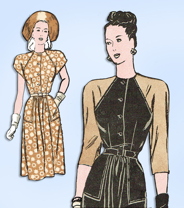 1940s Original Vintage Butterick Pattern 3780 Misses Dress Gr8 Sleeves Size 30 B