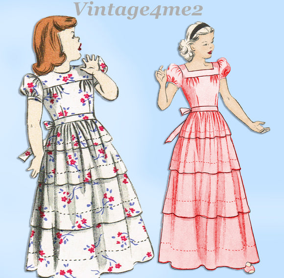 1940s Vintage Butterick Sewing Pattern 4063 Cute Toddler Girls Gown Sz 4
