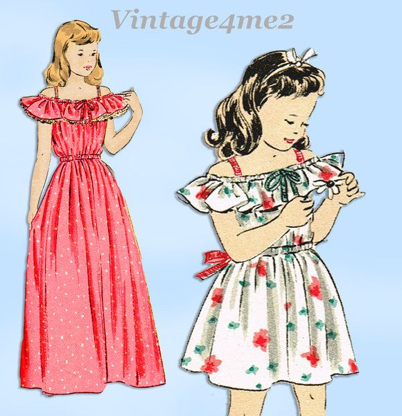 1940s Vintage Butterick Sewing Pattern 4468 Toddler Girls Party Dress Size 4 23B