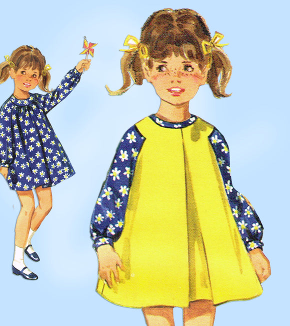 Butterick 4504: 1960s Toddler Girls Dress & Pinafore Sz3 Vintage Sewing Pattern - Vintage4me2