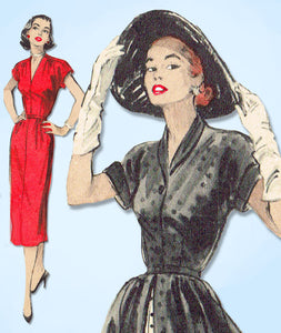 1950s Vintage Butterick Sewing Pattern 6048 Misses Dress & Redingcote Sz 32 Bust - Vintage4me2