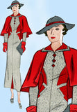 1930s Vintage Butterick Sewing Pattern 6272 Misses Dress & Cape Gr8 Lines Sz 32B - Vintage4me2