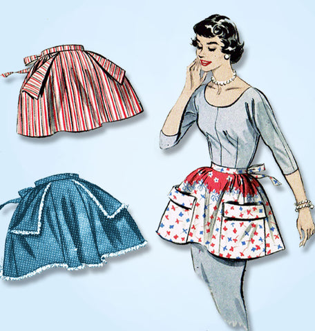 1950s Vintage Butterick Sewing Pattern 7141 Easy Apron w Big Pockets Fits All