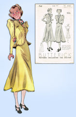 1930s Original Vintage Butterick Pattern 7141 Junior Misses 2 PC Dress Size 33 B