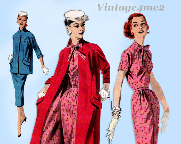 Butterick 7511: 1950s Misses Dress & Swing Coat Sz 36 B Vintage Sewing Pattern