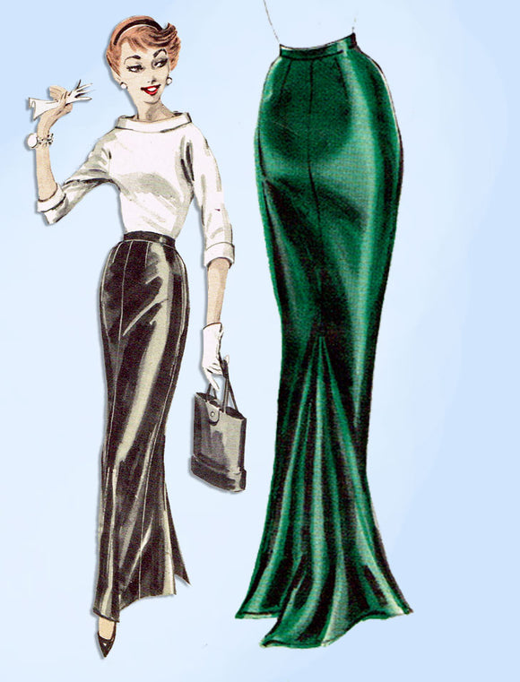 1950s Vintage Butterick Sewing Pattern 7888 Sexy Floor Length Skirt w Godet 32 W - Vintage4me2