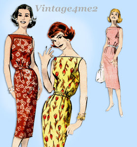 Butterick 8569: 1950s Easy Misses Casual Dress Sz 36 B Vintage Sewing Pattern