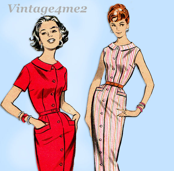 Butterick 8589: 1950s Misses Casual Dress Size 34 Bust Vintage Sewing Pattern