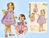 1960s Vintage Butterick Sewing Pattern 9818 Toddler Girls Dress & Pinafore Sz3