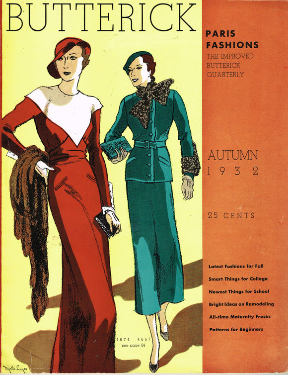 1930s Digital Download Butterick Quarterly Catalog Fall 1932 Magazine Pattern Book