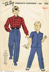1940s Vintage Du Barry Sewing Pattern 5312 Toddler Boy's WWII Trousers & Shirt 4