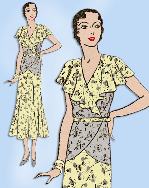 1930s Vintage Excella Sewing Pattern 3464 Misses Soft Afternoon Dress Sz 38 Bust