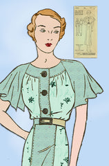 1930s Vintage Excella Sewing Pattern 4965 Stunning Misses Afternoon Dress Sz 34B