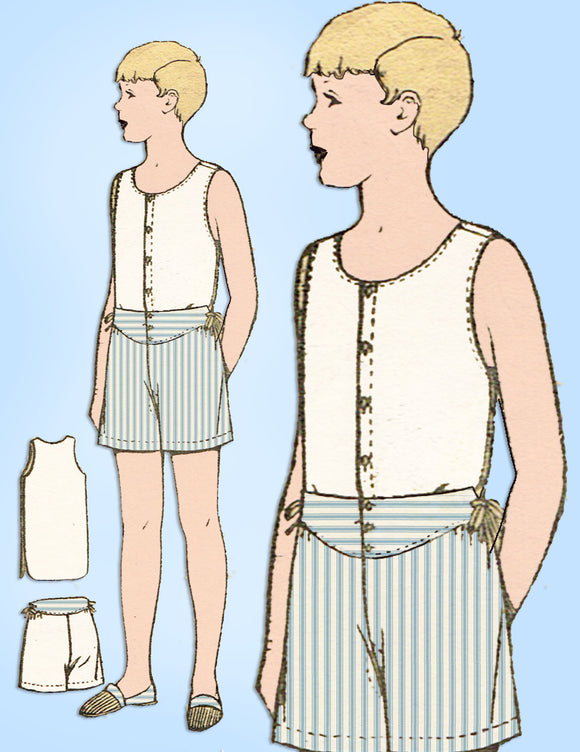 1920s Antique Excella Sewing Pattern E-3058 Toddler Boys One Piece Combination 6 - Vintage4me2
