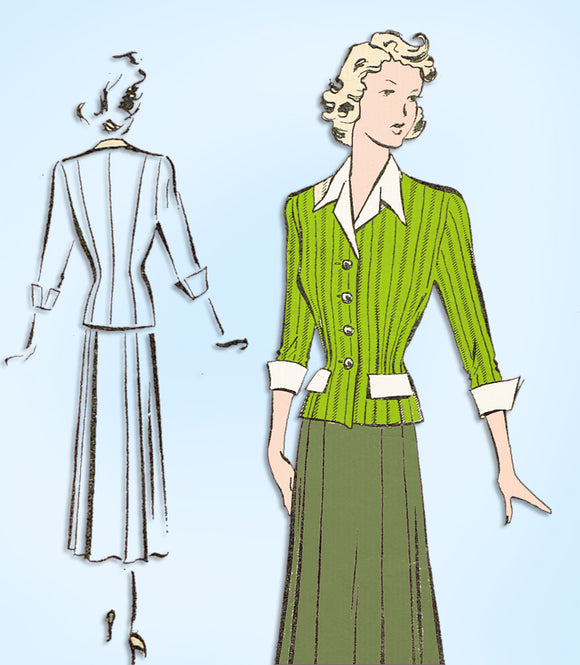1940s Vintage Fairloom Superior Sewing Pattern 6433 Stylish Women's Suit Sz 38 B