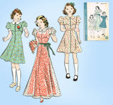 1930s VTG Hollywood Sewing Pattern 1534 Uncut Teen Girls Dress or Housecoat 34 B - Vintage4me2