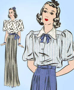 Hollywood 1574: 1930s Vintage Sewing Pattern Starlet Ida Lupino 2 Pc Gown or Dress Sz 30