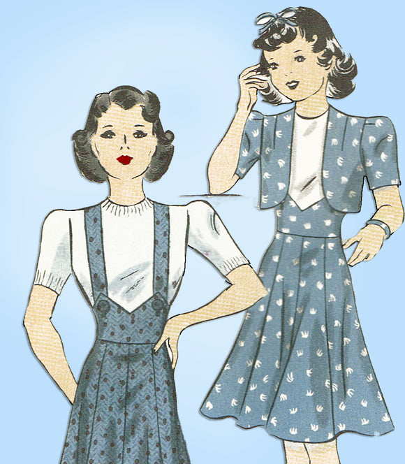 1930s Vintage Hollywood Sewing Pattern 1636 Uncut Teen Girls Bolero Suit Size 16 - Vintage4me2